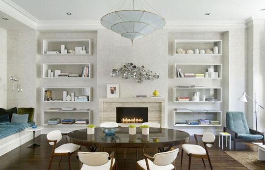 Images Dining Rooms with Fireplace and Shelves