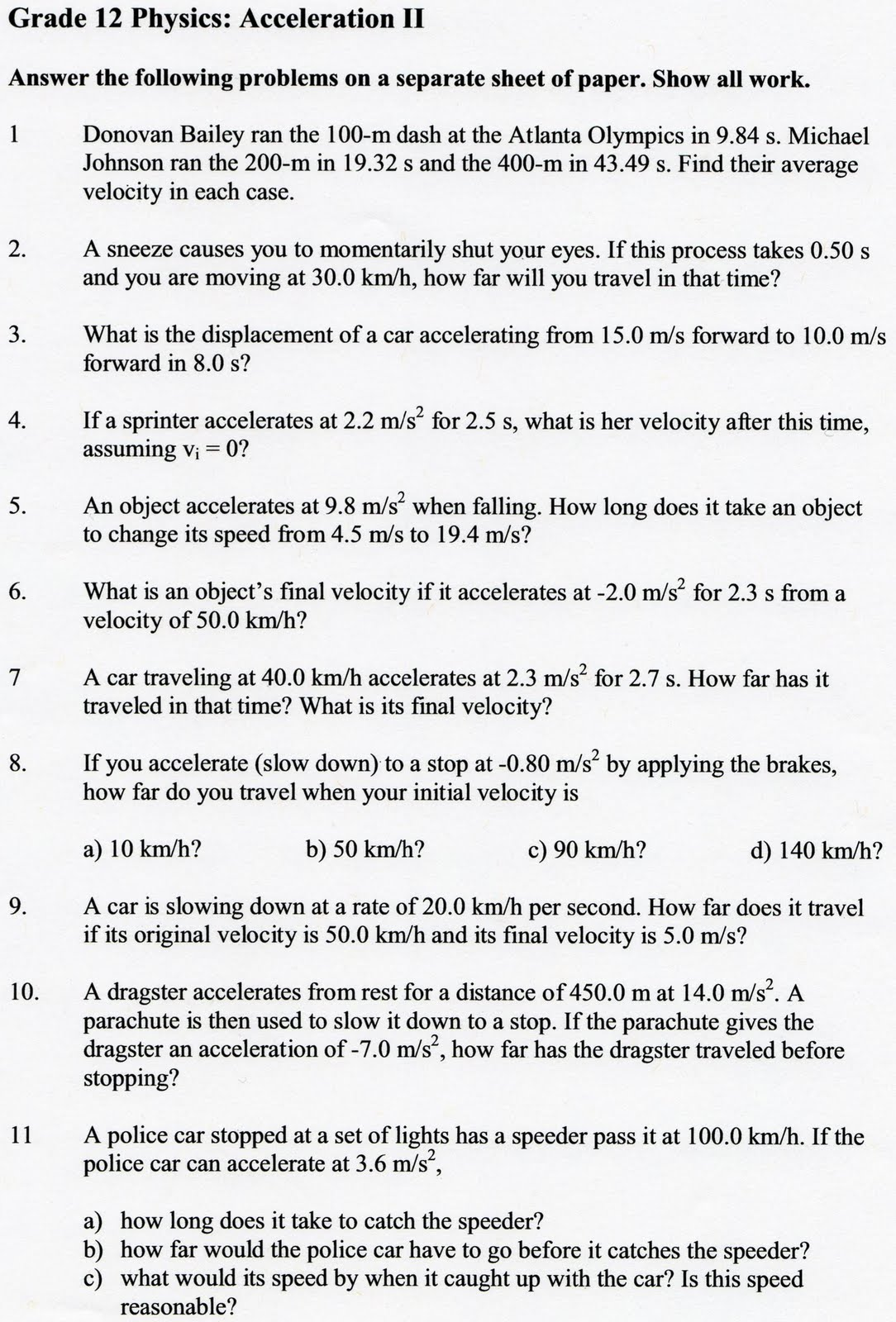 Worksheets Acceleration Calculations Worksheet physics12fall2010