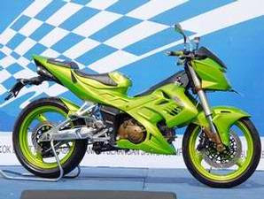 shogun+125 Modifikasi Motor Suzuki Satria F 150 Custom Green SportBike title=
