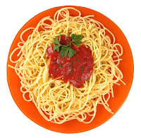 plate of spaghetti with red sauce