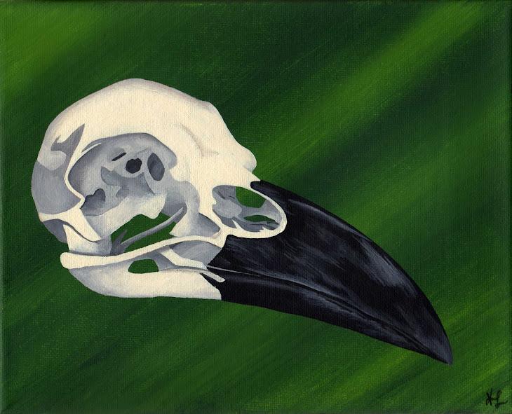 Raven Skull painting
