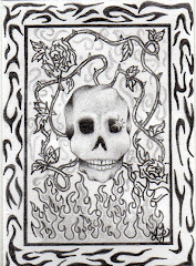 """Rose Skull Inferno"" ACEO"