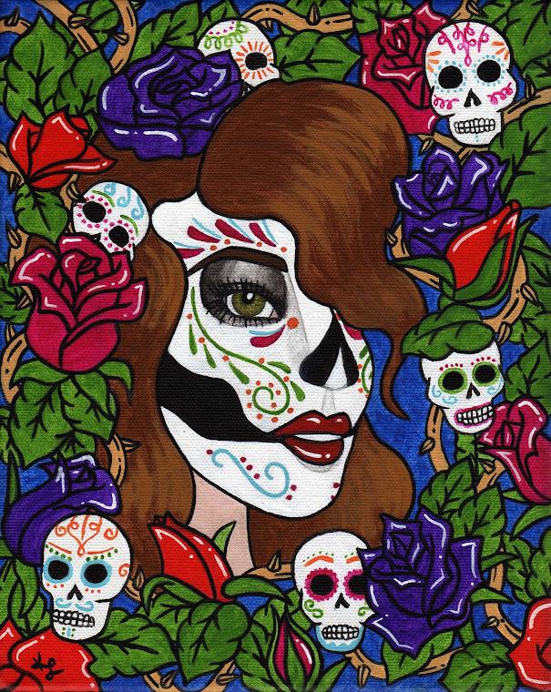 "Sugar Skull 8"" x 10"" Original Painting"