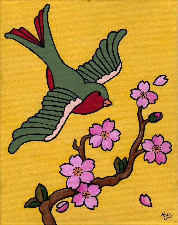 """""""Cherry Blossom Sparrow #1"""""""