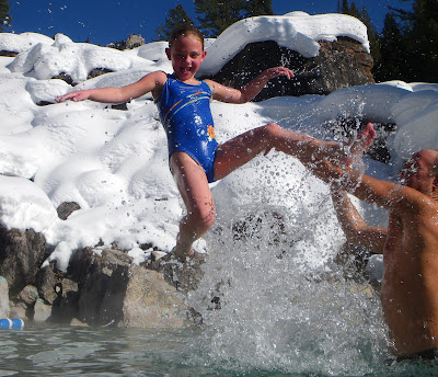 Granite Hot Springs is the perfect place to stay warm in winter conditions. Even in a swimsuit.