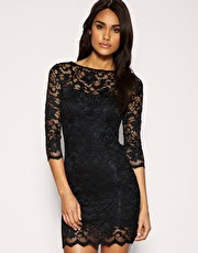 Slash Neck Lace Body Conscious Dress