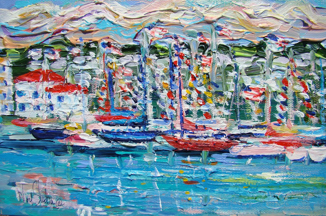 """BOATS IN MACKINAC ISLAND HARBOR"" BY NOEL SKIBA"