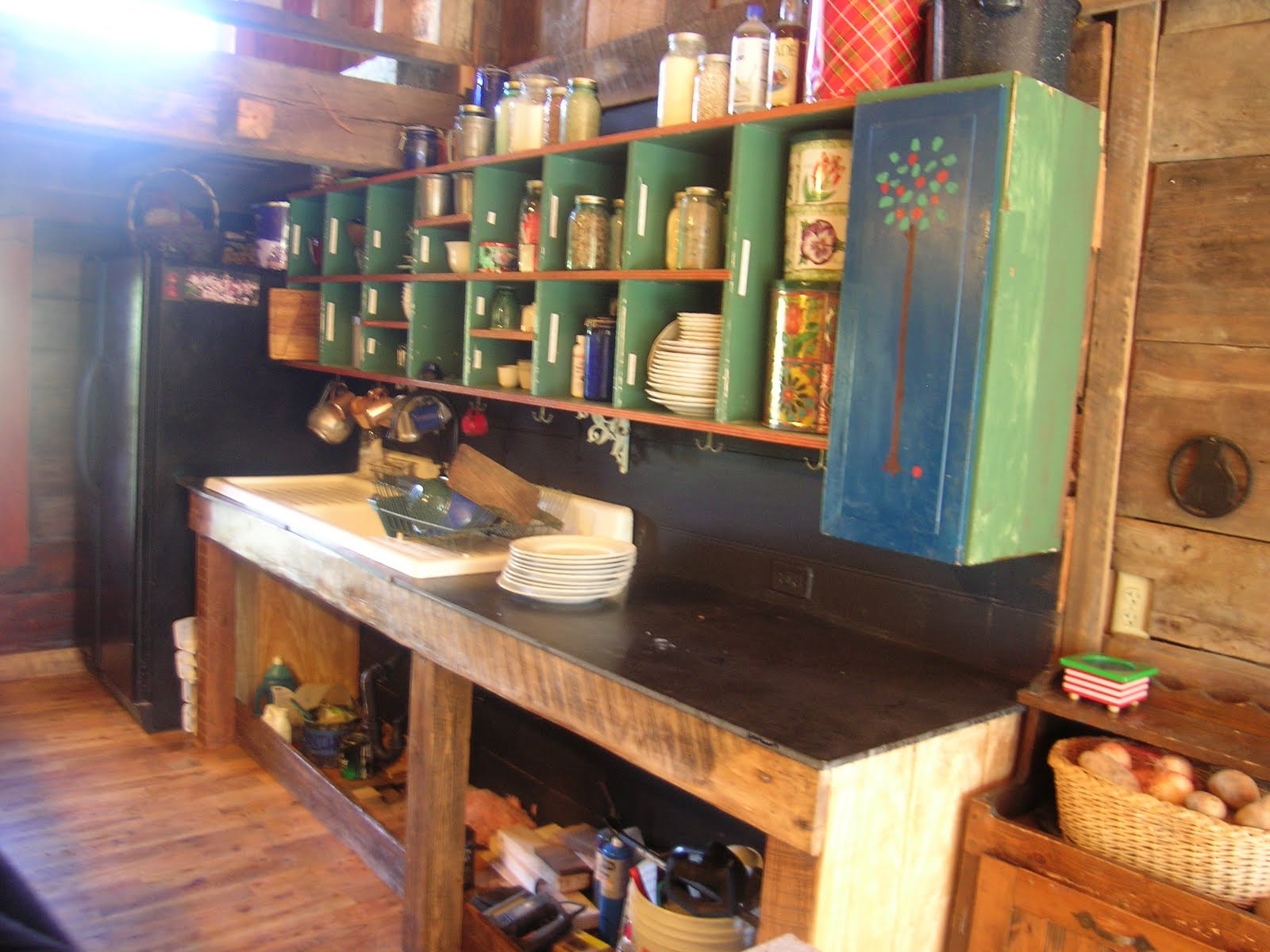 Homemade Kitchen Cabinets for Log Cabin