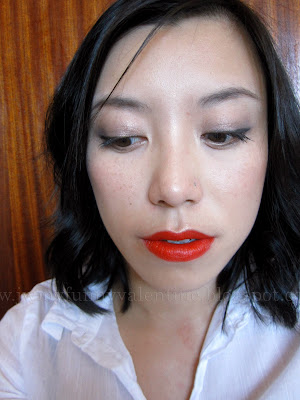 NYE face of the day with NARS Heatwave lipstick and MAC Mauvement pigment