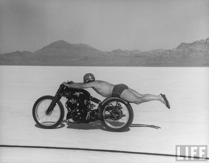 1948 supercharged vincent black lightning at the Bonneville salt flats.