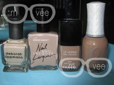 Deborah Lippmann - Waking Up in Vegas, American Apparel - Mouse, Chanel - Particuliere, Orly - Prince Charming
