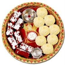 Sacred ingredients in diwali thali ingredients in a for Aarti thali decoration with rice