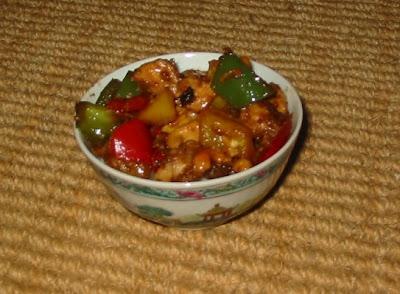 Paprika mit Hühnchen und Cashewnüssen chinesisch