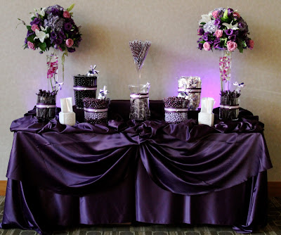 Candy by Brandi Purple and Lavender candy buffet for a wedding at the Rio