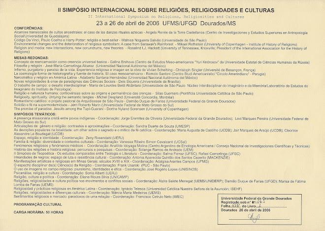 II Simpósio Internacional RELIG (verso)