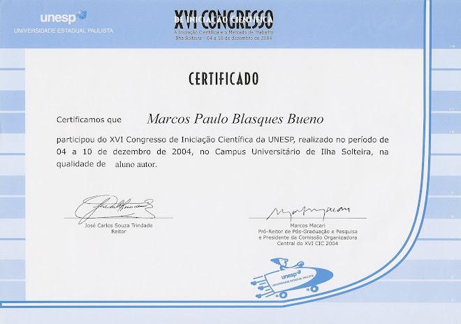 XVI Congresso de Iniciação Científica da UNESP - Apresentação e Publicação Digital de Trabalho