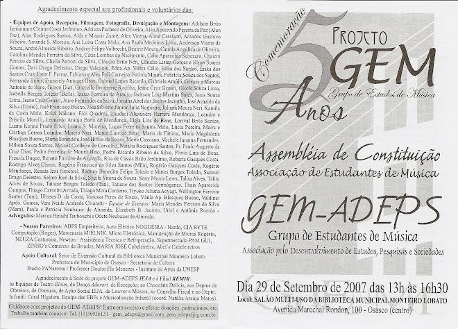 Assembléia de Constituição do GEM-ADEPS