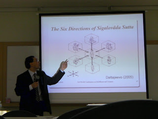 Paul Trafford describing the 6 directions of the Sigalovada Sutta at the 3rd World Conference on Buddhism and Science, Mahidol University