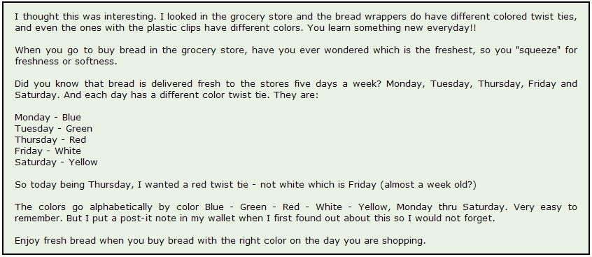 the jolly kitchen what does the color of your bread tag mean - Bread Ties Color