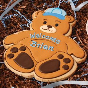 Giant Baby Boy Bear Decorated Cookie