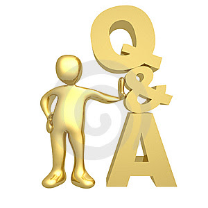 picure is of a little gold man standing next to a large Q & A symbol