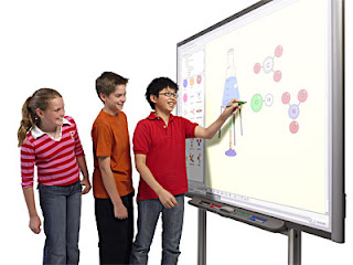 picture of students using a smart board