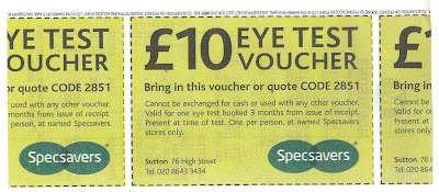 £10 eye test voucher for Specsavers
