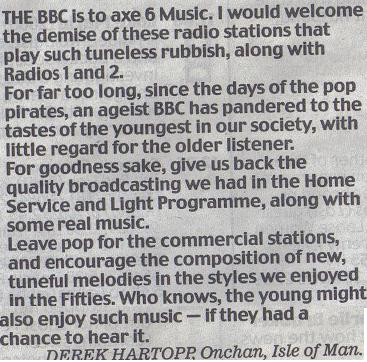 Daily Mail letter about 6 Music