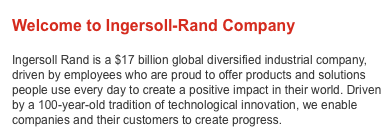 Screengrab from Ingersoll Rand's website
