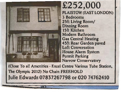 Newspaper advert for a property with a dinning room and loft conversation