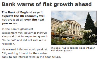 Example of the phrase 'flat growth' in a BBC News story