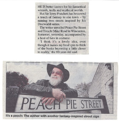 Terry Pratchett and a Peach Pie Street sign