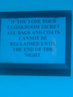 Strangely worded cloakroom sign spotted in Battersea Evolution