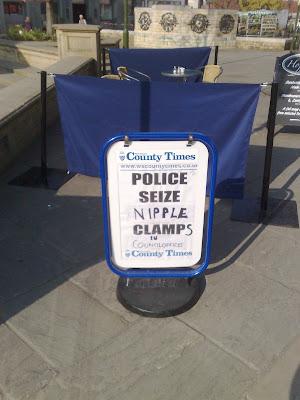 Newspaper billboard with adjusted copy
