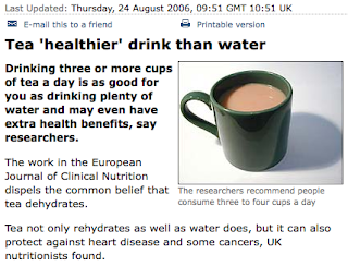 BBC News article on the health benefits of tea