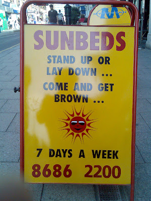 Sunbed sign in Croydon