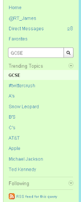 Twitter trending topics from 27 August 2009