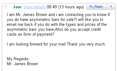 Spam request from James Brown