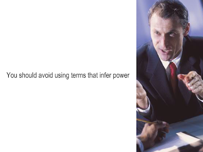 Caption reads: You should avoid using terms that infer power