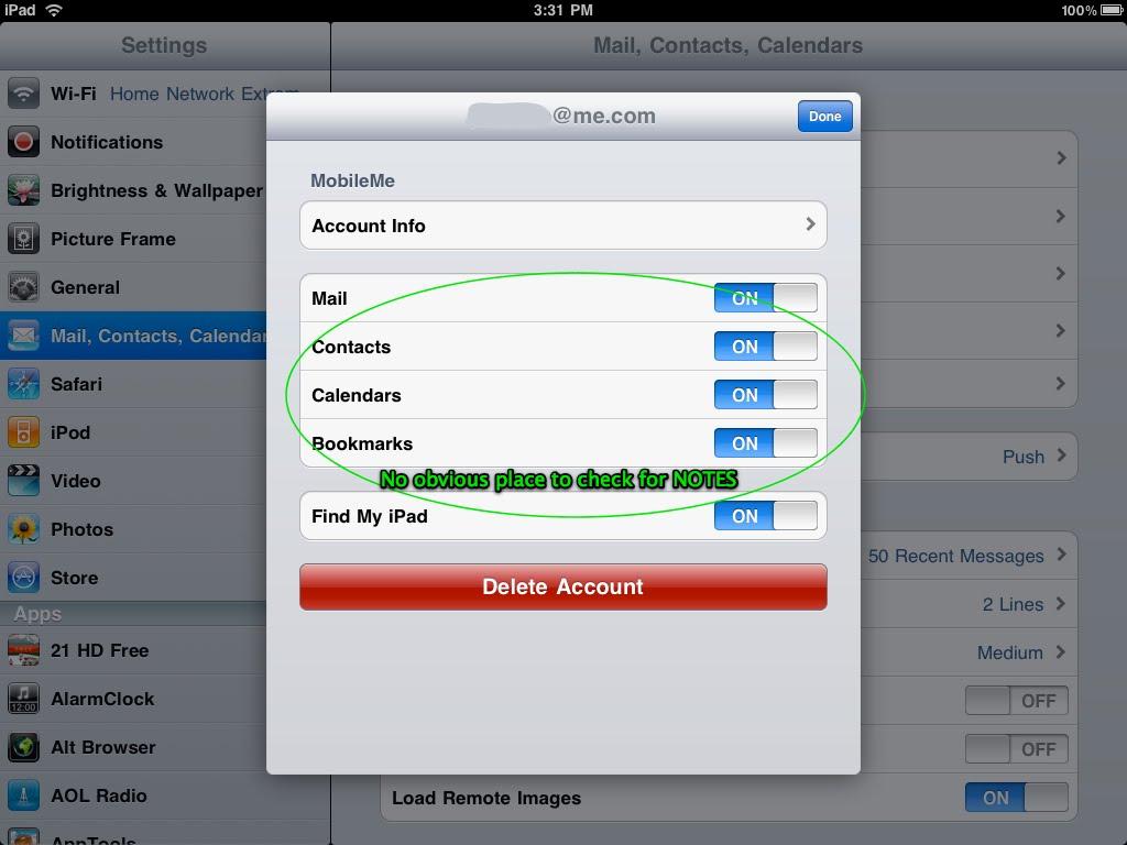 how to change icloud account settings on ipad 2