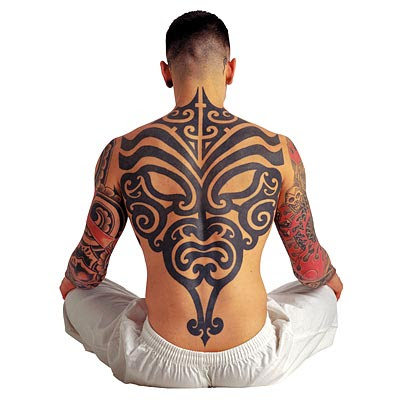 Tribal Arm Sleeves and Back Tattoo