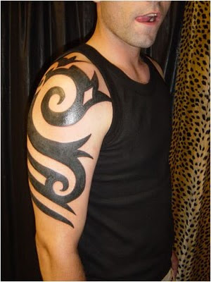 Shoulder Tribal Armband Tattoo For Men. Peacock Tattoo Design on Girls Arm