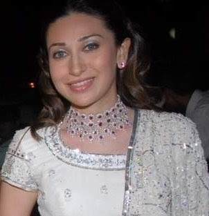 Karishma Kapoor in Diamond Necklace with Ruby Stones