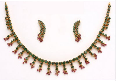 Emerald Necklace Set with Ruby beads