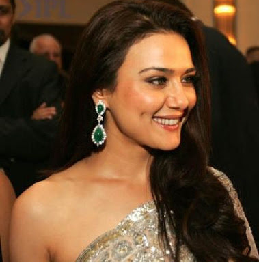 Preity Zinta in Diamond and Emerald hangings