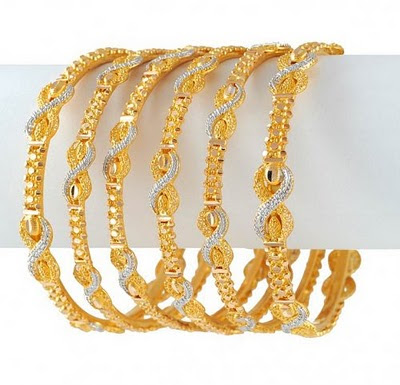 Gold Stone Bangles Latest Collection 2010