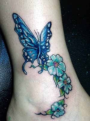Female Feet Tattoo -  Butterfly Flower Tattoo
