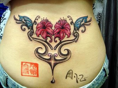 Girly Flower and Butterfly Tattoo Design on Lower Back