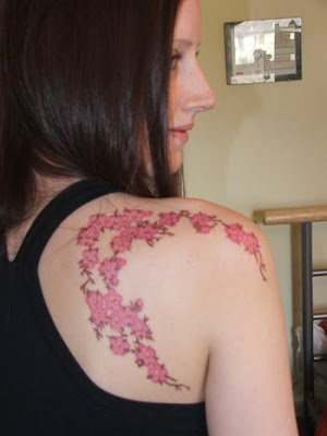 Cherry Blossom Tattoo Design on Female Back Shoulder
