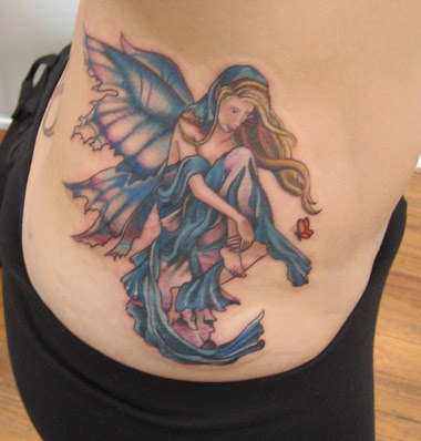 fairy moon and star tattoo flash. Fairy Angel Tattoo on Female Side Body
